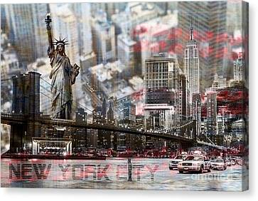 Canvas Print featuring the photograph Manhatten From Above by Hannes Cmarits