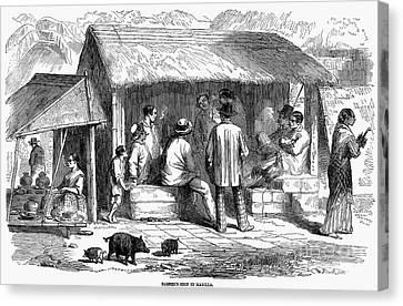 Colonial Man Canvas Print - Manila: Barbershop, 1858 by Granger