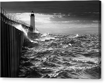 Canvas Print featuring the photograph Manistee Pierhead Lighthouse by Fran Riley