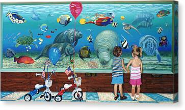 Manitee Aquarium With My Twins Canvas Print by Bonnie Siracusa