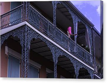 Pink Hair Canvas Print - Mannequin On Balcony  by Garry Gay