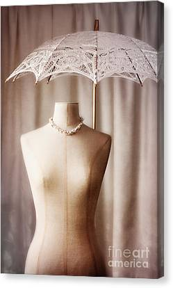 Gold Necklace Canvas Print - Mannequin With Parasol by Amanda Elwell