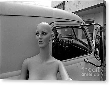 Manniquin And Old Truck Canvas Print by Arni Katz