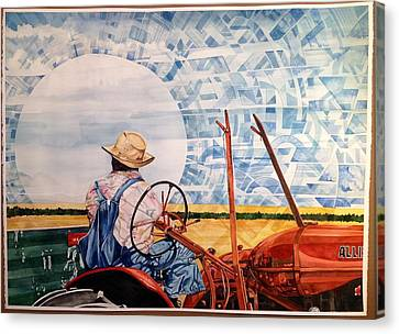 Manny During Wheat Harvest Canvas Print by Lance Wurst