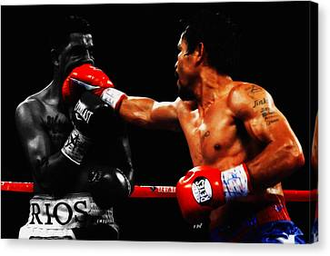 Manny Pacquiao Making Contact Canvas Print by Brian Reaves