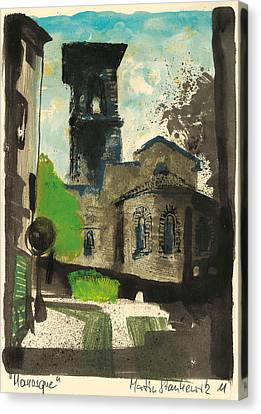 Canvas Print featuring the painting Manosque  Provence Notre Dame De Romigier Print by Martin Stankewitz