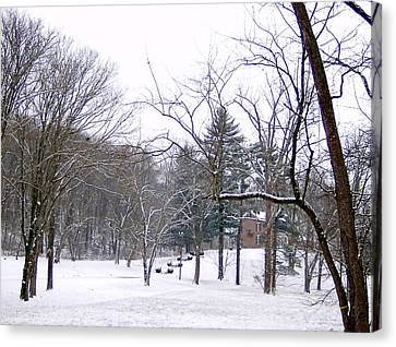 Canvas Print featuring the photograph Mansion In The Snow by Skyler Tipton