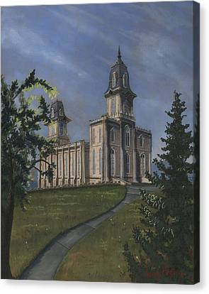 Manti Temple East Doors Canvas Print by Jeff Brimley