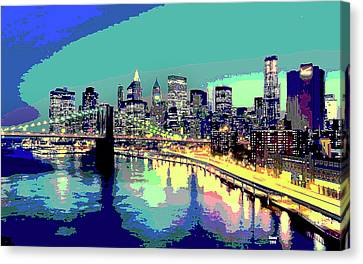 Manttan At Night Canvas Print by Charles Shoup