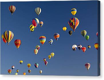 Many Vividly Colored Hot Air Balloons Canvas Print by Ralph Lee Hopkins