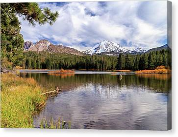 Canvas Print featuring the photograph Manzanita Lake - Mount Lassen by James Eddy