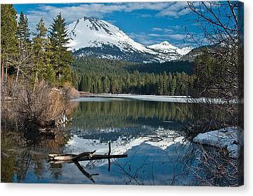 Manzanita Lake Reflects On Mount Lassen Canvas Print