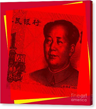 Canvas Print featuring the digital art Mao Zedong Pop Art - One Yuan Banknote by Jean luc Comperat