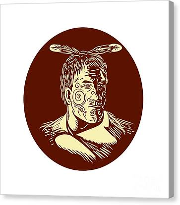 Maori Chieftain Head Oval Woodcut Canvas Print by Aloysius Patrimonio