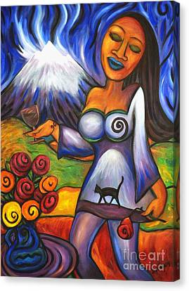Canvas Print featuring the painting Maori Girl Roses And Cat by Dianne  Connolly