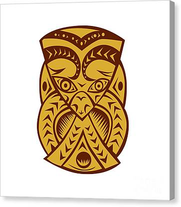 Maori Mask Woodcut Canvas Print by Aloysius Patrimonio