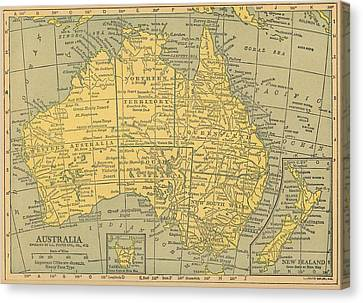 Canvas Print featuring the drawing Map Australia by Digital Art Cafe