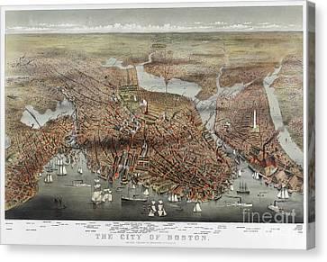 Map: Boston, C1873 Canvas Print by Granger