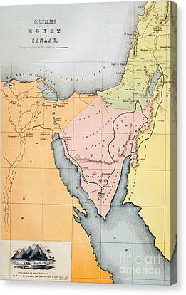 Map Depicting The Countries Between Egypt And Canaan Canvas Print by English School