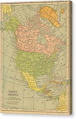 Canvas Print featuring the drawing Map North America 1909 by Digital Art Cafe