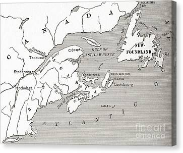 Map Of Acadia, 17th Century Colony Of New France In Canada Canvas Print