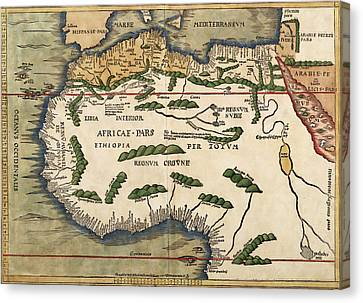 Map Of Africa 1513 Canvas Print by Andrew Fare