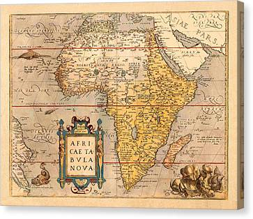 Map Of Africa 1572 Canvas Print by Andrew Fare