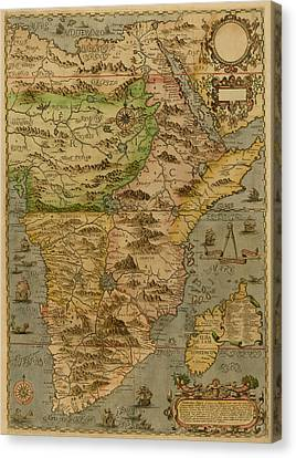 Map Of Africa 1597 Canvas Print by Andrew Fare