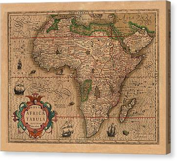 Map Of Africa 1611 Canvas Print by Andrew Fare