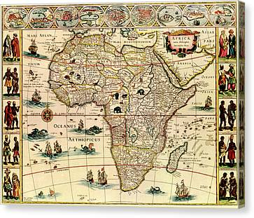 Map Of Africa 1640 Canvas Print by Andrew Fare