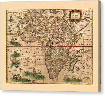 Map Of Africa 1641 Canvas Print by Andrew Fare