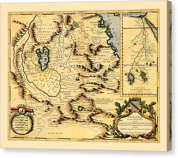 Map Of Africa 1690 Canvas Print by Andrew Fare