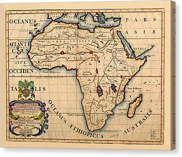 Map Of Africa 1700 Canvas Print by Andrew Fare