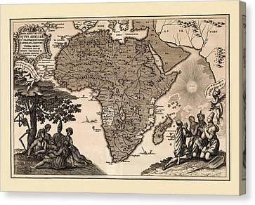 Map Of Africa 1737 Canvas Print by Andrew Fare