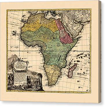 Map Of Africa 1752 Canvas Print by Andrew Fare