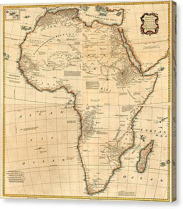 Map Of Africa 1766 Canvas Print by Andrew Fare