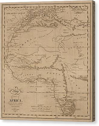 Map Of Africa 1816 Canvas Print by Andrew Fare
