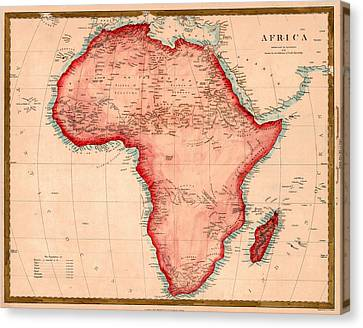 Map Of Africa 1844 Canvas Print by Andrew Fare