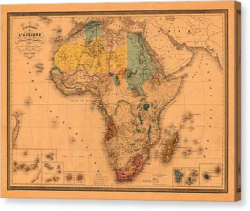 Map Of Africa 1880 Canvas Print by Andrew Fare