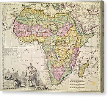 Map Of Africa Canvas Print by Pieter Schenk