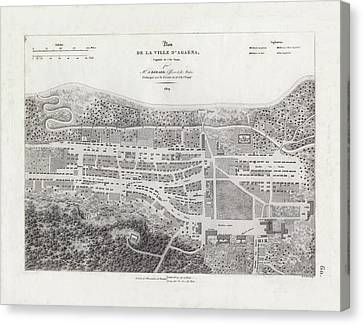 Map Of Agana Village Guam Canvas Print by A Berard