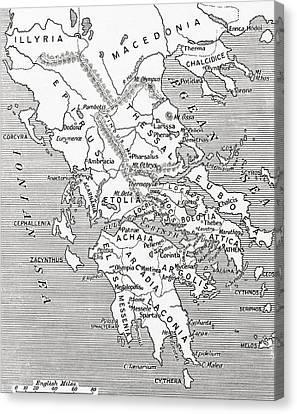 Olympus Canvas Print - Map Of Ancient Greece by English School