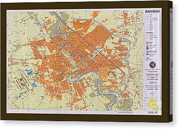Map Of Baghdad Iraq Canvas Print by Pd