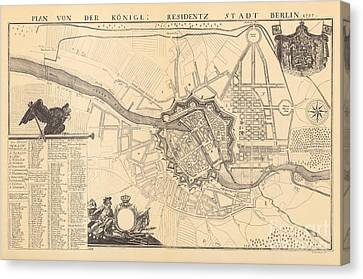 Berlin Canvas Print - Map Of Berlin, 1737 by G Dusableau