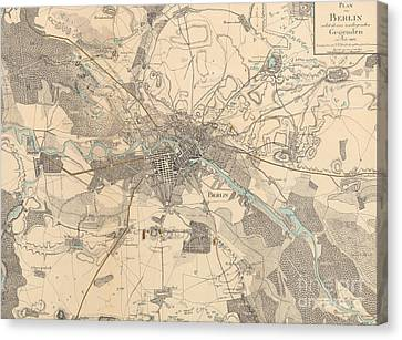 Berlin Canvas Print - Map Of Berlin, 1802 by German School