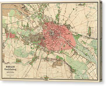 Berlin Canvas Print - Map Of Berlin, 1857 by German School