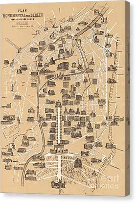 Map Of Berlin, 1860 Canvas Print