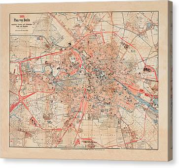 Map Of Berlin 1895 Canvas Print by Andrew Fare