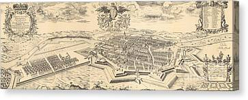 Berlin Canvas Print - Map Of Berlin And Coelln, 1688 by German School