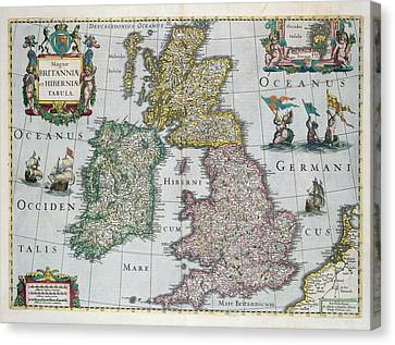 Map Of Britain Canvas Print by English school